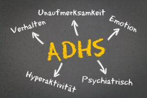 ADHS Konzept auf Kreidetafel Medikinet Retard 10mg