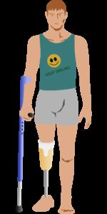 amputation prothese bein krücke behinderung