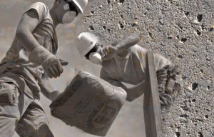 Zement Bauarbeiter Mundschutz