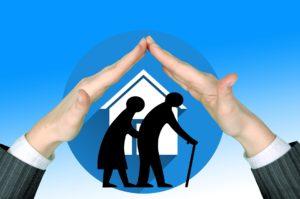 senioren , altenpflege , schutz , beschützen , hände , halten , verantwortung , altenheim , seniorenheim , politik , sozial , hilfe , menschen , rentner , alter , paar , silhouette , person , heim , pflegeheim
