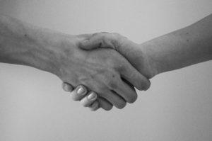 Dermatophyten hand händeschütteln begrüßen einverstanden