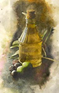 flasche , farbe , container , kochen , trinken , lebensmittel , obst , glas , flüssigkeit , öl , olivenöl , stilleben , gesund , zutat , bio , küche , natürliche , gemüse , mittelmeer , erstellung digitaler , digitale kunst , digitale zeichnung