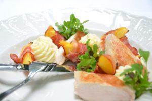 essen , huhn , pfirsich , speck hühnchen essen lebensmittel lecker fleisch