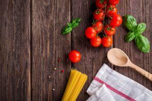 lebensmittel , küche , kochen , tomaten , hintergrund , gericht , basilikum , pasta , spaghetti , italienisch