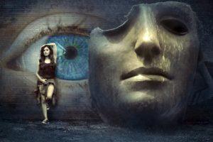 fantasy , surreal , maske , wand , auge , mystik , mädchen , stimmung , mystisch , geheimnisvoll , graffiti , gesicht , kunst , statue , mauer , frau , skulptur , angelehnt , weiblich , kunstwerk , bronzestatue , kopf
