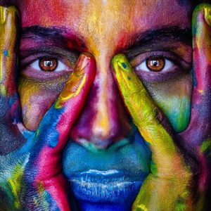 mädchen , gesicht , bunte , farben , künstlerischen , modell , person , frau , augen , kunst , farbe , porträt , abstrakt , vielfalt
