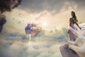 fantasie , schöne , sonnenaufgang , sonnenuntergang , himmel , wolke , frauen , mädchen , tapete , landschaft , schwimmend , insel , burg , sonnenlicht