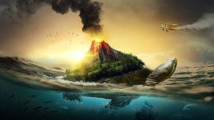 meer , schildkröte , vulkan , sonnenuntergang , fisch , natur , schöne , landschaft , wasser , ozean , tapete , fantasie , sonne , sonnenlicht , wenig , insel , wolke , himmel , tier , rauch , flugzeuge , fliegen, Fantasie