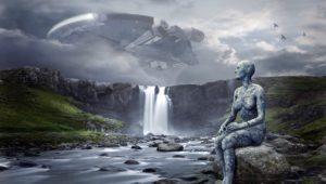 raumschiff , ufo , landschaft , wasserfall , zukunft , science-fiction , composing , fremde intelligenz , schweben , spaceship , ausserirdische , unheimlich , unbekanntes flugobjekt , wolken , ankunft , figur , stein , aliens , fantasy , atmosphärisch, KI, Künstliche Intelligenz