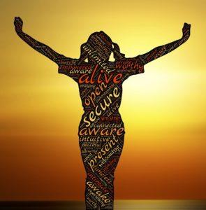 bewusst , achtsam , wach , lebendig , sichern , gegenwart , frau , sonnenaufgang , identität , menschliche , geist , haltung , bewusstsein , selbstbewusstsein , geistige , psychologie , silhouette , backlit , feier
