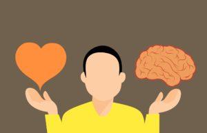 entscheidung , gehirn , herz , geist , schwierig , vs , logik , liebe , gegen , wahl , konfrontation , unterschiedliche , gleichgewicht , cartoon , wettbewerb , gefühle , leben , emotionale , intuition , mann ,