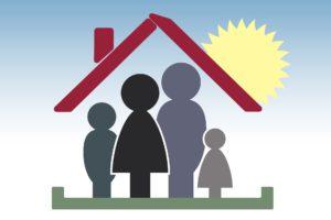 familie , vater , mutter , kind , mädchen , haus , dach , zuhause , heim , sicherheit , geborgenheit , schutz , einheit , familienaufstellung , familienmitglieder , konstellation , wahrnehmung , beziehung , psychotherapie , psychologie , gruppe ,