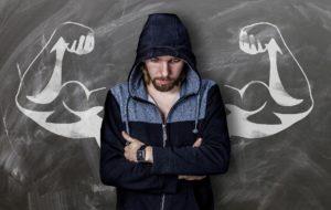 mann , tafel , zeichnung , muskeln , stark , schwach , kreide , enttäuschung , bizeps , kapuze , enttäuscht , fitness , muskel , training , hoffnung , pose , kraft , bodybuilding , arm , härte , männlich , oberarm , krafttraining , unterarm , verschränken , bart , haar , traum , vorstellung