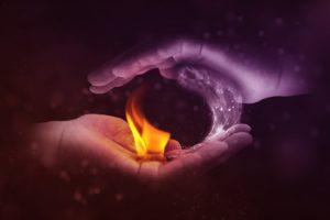 Konvektion, yin und yang , feuer , wasser , hand , gegensätze , gleichgewicht , heiß , kalt , flüssig , flamme , löschwasser , brennen , rot , hitze , licht , glühen , verbrennen , löschen , energie , wärme , lodern , symbol