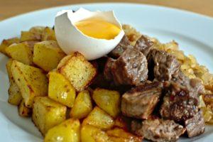 Methylmalonsäure MMS Vitamin B12 biff rydberg , steak , rydberg , mat , rohe eier , eier , kartoffel , zwiebel , fleisch , gericht