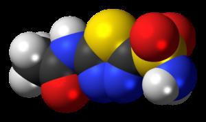 acetazolamid , diuretikum , molekül , struktur , modell , chemie , wissenschaft , verbindung , atome , verkleben