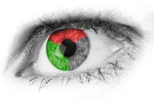 abstrakt , rot , grün , blau , primäre , farben , nahaufnahme , detail , auge , augapfel , wimpern , weiblich , menschliche , iris , flüge , makro , optische , schüler , siehe , vision , frau, Rot-Grün-Sehschwäche und Rot-Grün-Blindheit, Rot Grün Schwäche