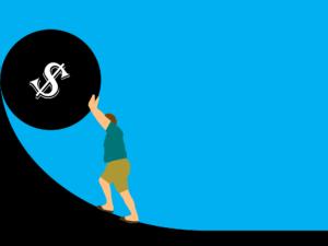 schulden , geld , kredit , darlehen , hypothek , konkurs , problem , risiko , zahlung , interessen , probleme , gefahr , belastung , krise , finanzen , person , kugel , boulder , rollen , cartoon , schwer , arbeit , sklave , metapher , sisyphos , wirtschaft , gefangen